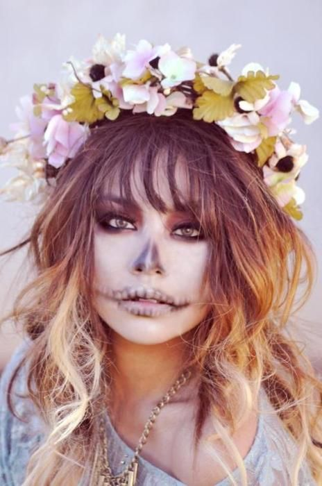 Subtle skull makeup for the less adventurous who don't want a full on sugar skull makeup. Works so well with the flower hair accessories!