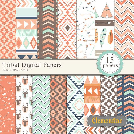 Tribal scrapbook paper 12x12 royalty free by ClementineDigitals