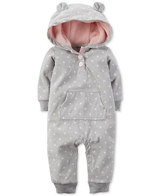 Carter's Baby Girls' Dot-Print Hooded Coverall - Baby Girl (0-24 months) - Kids & Baby - Macy's