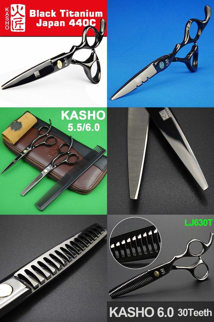 [Visit to Buy] Japan 440c Kasho Scissors for Hairdressers Barber Shop Supplies Titanium Professional Hairdressing Scissors for Cutting Hair #Advertisement