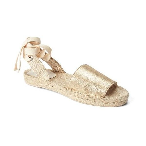 Gap Women Metallic Lace Up Espadrille ($50) ❤ liked on Polyvore featuring shoes, sandals, gold, regular, leather lace up sandals, lace up espadrilles, espadrille sandals, lace up espadrille sandals and leather shoes