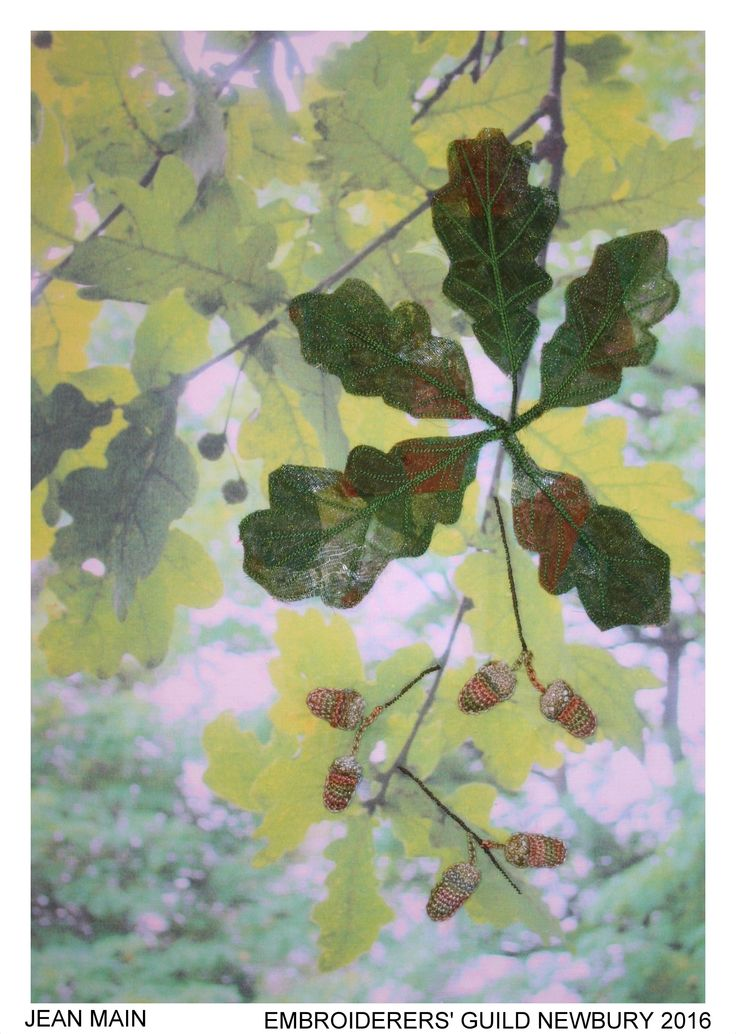 """""""A Blenheim Oak"""" by Jean Main, Newbury branch of Embroiderers' Guild. Part of """"Celebrating 300 years of Capability Brown"""" exhibition at Blenheim Palace 13 April - 2 May 2016. Exhibition held as part of the UK's Capability Brown Festival"""