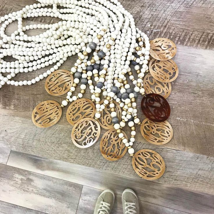 Best Seller Alert! Gorgeous long, wood beaded necklace with a large acrylic monogram pendant. Shop for yours today! https://www.etsy.com/listing/211514709/unique-monogram-necklace-gift-for-her