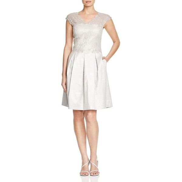 Kay Unger Cap Sleeve Lace Bodice Dress ($400) ❤ liked on Polyvore featuring dresses, silver, cap sleeve cocktail dress, short cap sleeve dress, white dress, white lace dress and white cap sleeve dress