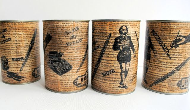 SewforSoul: Shabby Chic Decoupage Tin Cans. Vintage Altered Book Page Art. Modge Podge. Shakespeare, Typewriters, Edgar A Poe. Paper Napkins