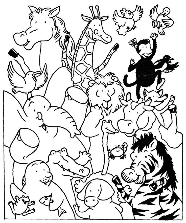Coloriage Les animaux du zoo et dessin à colorier Les animaux du zoo avec coloriage-dessin.com