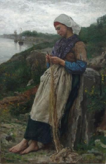 The fisherman's daughter. Jules Breton (1827-1906) was a 19th-century French Realist painter.  During his lifetime, Breton was one of the most popular artists in France, England, and the United States.  He is famous for painting female figures, usually portrayed in a beautiful landscape and posed against the setting sun.  Breton often produced copies of his artwork and exhibited them in salons.: Art, Jules Breton, Daughters, Painting, Fishermans, Daughter Of
