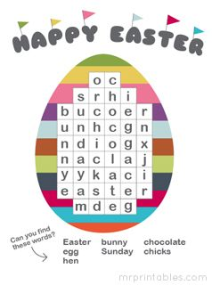 Easter word search puzzle - printable