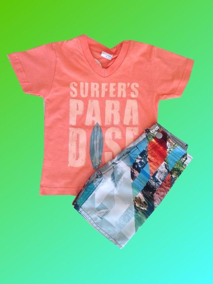 Conjunto Menino Camiseta e Bermuda Tactel