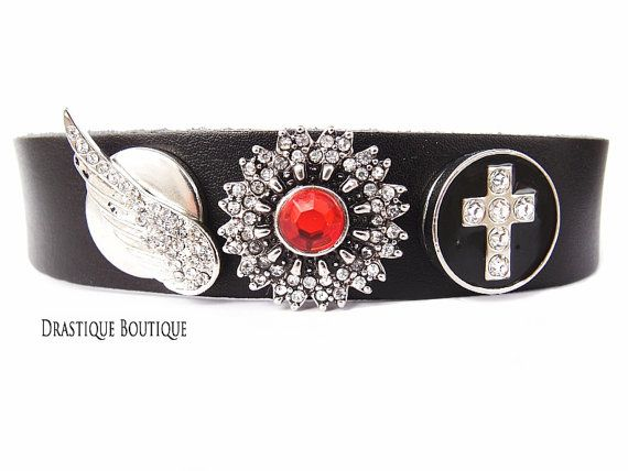 Black cross wings snap button bracelet, Gothic goth victorian black bracelet, Angel wings bracelet, Noosa style bracelet, Gift under 10
