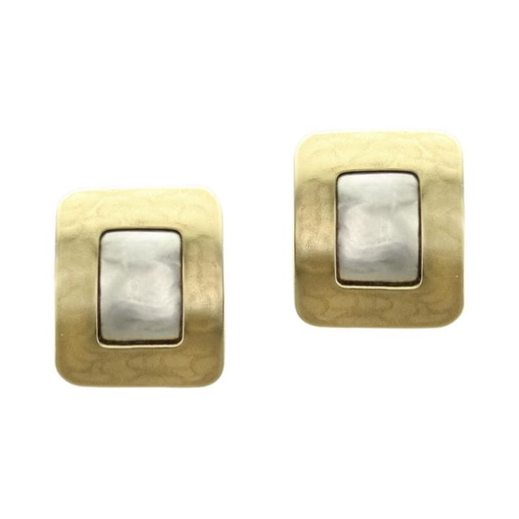 Rounded Rectangle Frame in Brass and Sterling Silver Earring