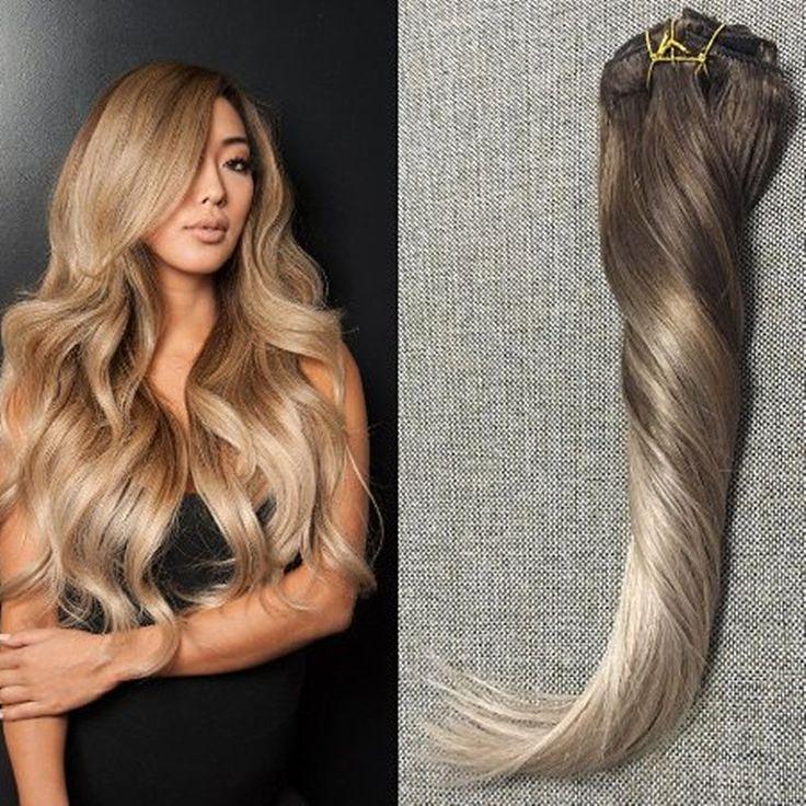 Voller Glanz Remy Clip in Haarverlängerungen Menschliches Haar Ombre Balayage reines Haar Clip Extensions Farbe #4 #18 Asche Blonde Auf Lager