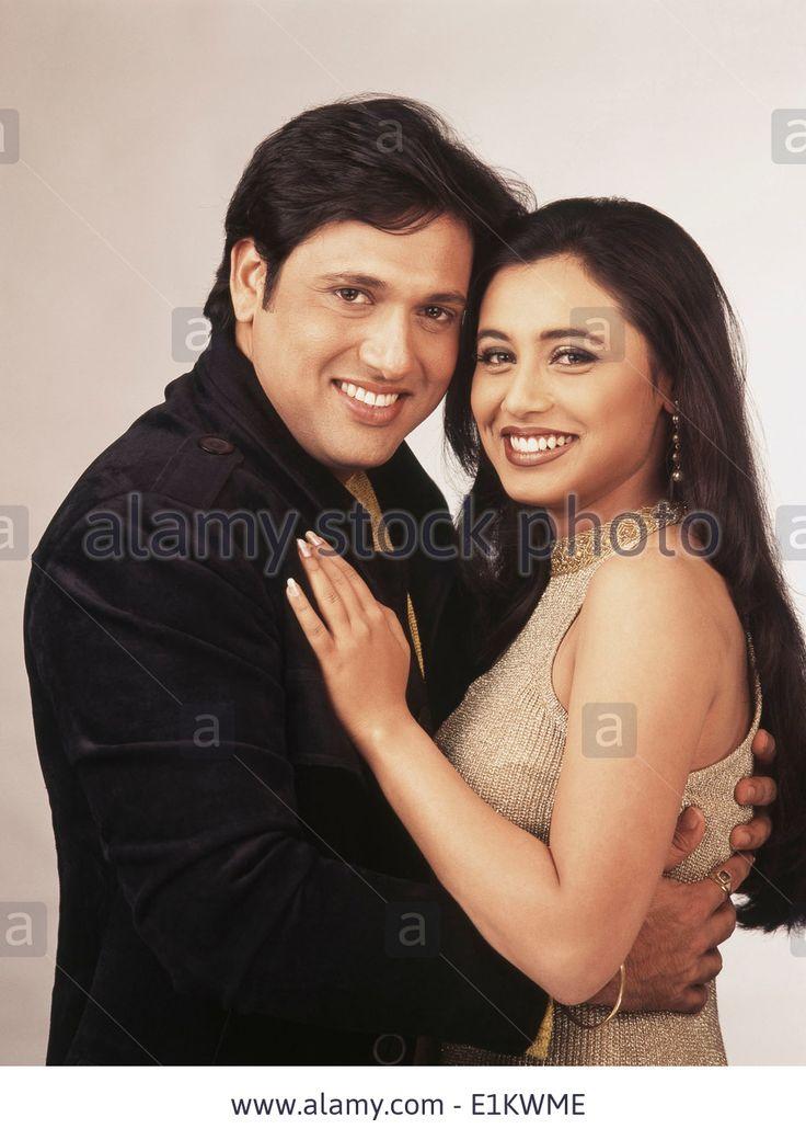 Stock Photo - Portrait of Indian film actress Rani Mukerji and actor Govinda
