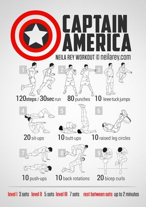 Captain America Workout... This website has it's workouts based on movies and such. Pretty awesome