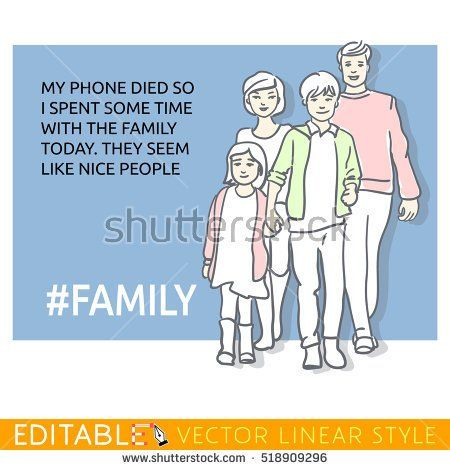 Man about contemporary family values. Meme card. Editable outline sketch. Stock vector illustration.