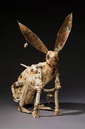 Geoffrey Gorman amazing sculptures of wood, fabric and metal.
