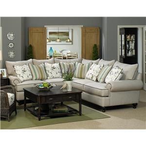 Paula Deen Home 2 Piece Sectional Sofa With Rolled Arms And Turned Feet By Living Room