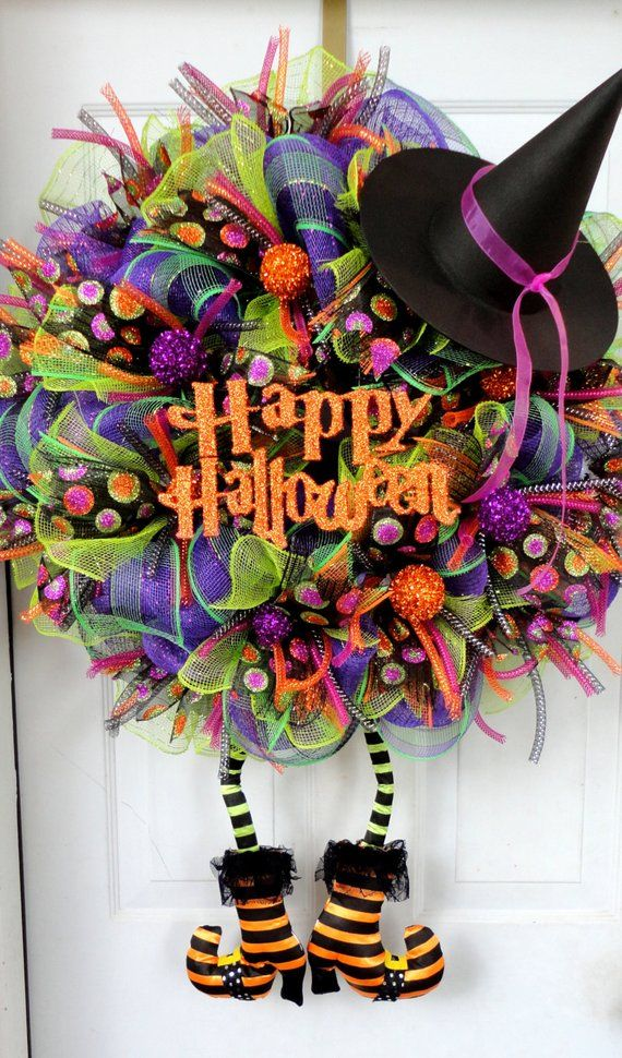 Huge with BOOTS Wicked Witch Wreath Halloween Mesh Wreath – Halloween Decor – Witch Leg and Witch Hat Wreath – Autumn