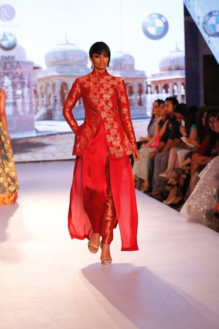 Neeta Lulla Red Silk Kanjivaram Jacket With Dhoti