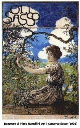 Bozzetto di Plinio Lomellini per il concorso grafico Olio Sasso (1901) -