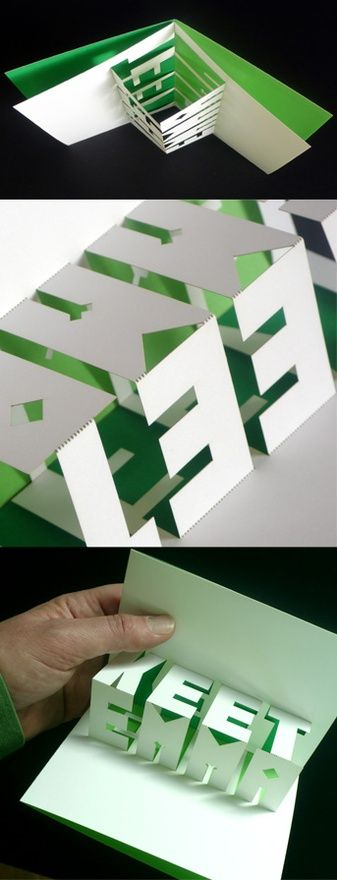 laser-cut, pop-up card (Typography, Origami, Graphic Design) -By Martin