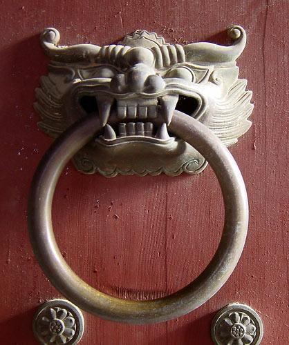 Korean Door Knocker at Temple Entrance