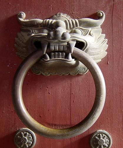 Korean style door knocker at temple entrance