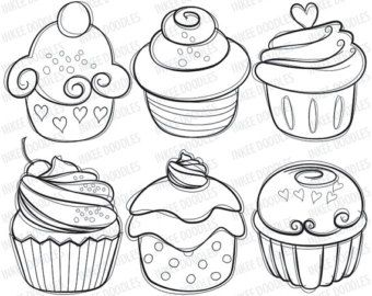 Cupcake Digital Stamps - cherry cream cupcakes hand drawn sketch food digital stamps line drawings illustrations instant download 30006