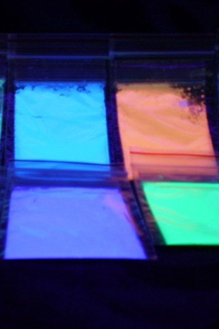 Instructions Included Pick your color 1 oz Photoluminescent powder.  Glow in the dark powder.  Add to paint, resin, clothing, and more. $18.00, via Etsy.