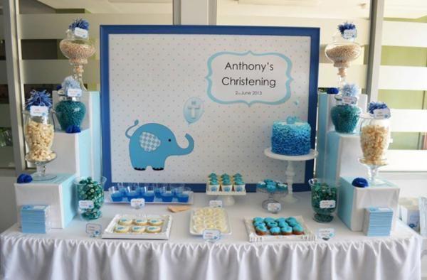 Blue elephant baptism decorations and desserts baptism for Baby boy baptism decoration ideas