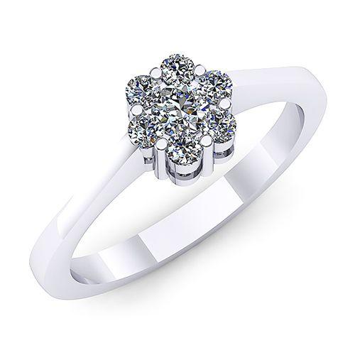 Inel logodna F51ADI INEL DE LOGODNA REALIZAT DIN AUR ALB 14K CU DIAMANTE   * Piatra principala: un diamant rotund 2.80mm ~0.08ct * Piatra secundara: diamante 6buc x 1.70mm - greutate totala: ~0.10ct