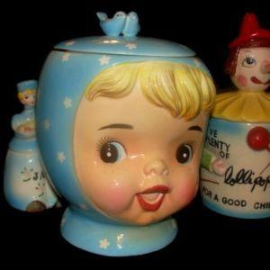 Vintage Napco Miss Cutie Pie Girl Cookie Jar Blue | eBay