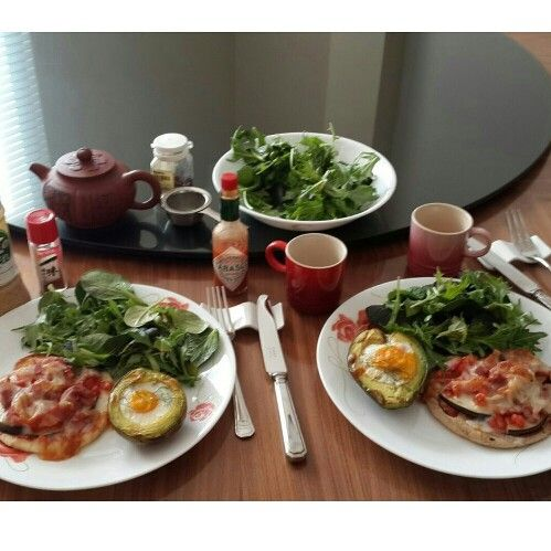 Breakfast. My bacon eggplant pita pizza, egg in avocado and mix salad with japanese sesame dressing