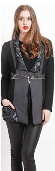 Black & Grey Panelled with Waist Grey Patterned Detail Jacket - Winter 2015 Collection - HOLMES & FALLON