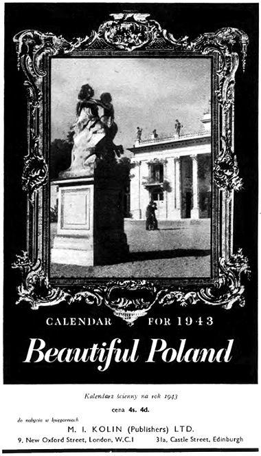 "Retro REKLAMA - Kalendarz ścienny na rok 1943 - ""Beautiful Poland"" - 1943 rok"
