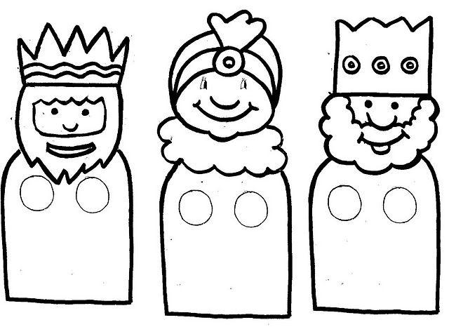Reyes magos. molde de dedoches