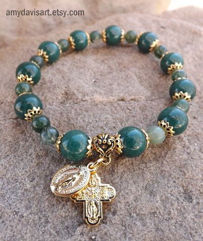 Green & Gold Rosary Bracelet St. Patrick's Day Gift Idea by AmyDavisArt