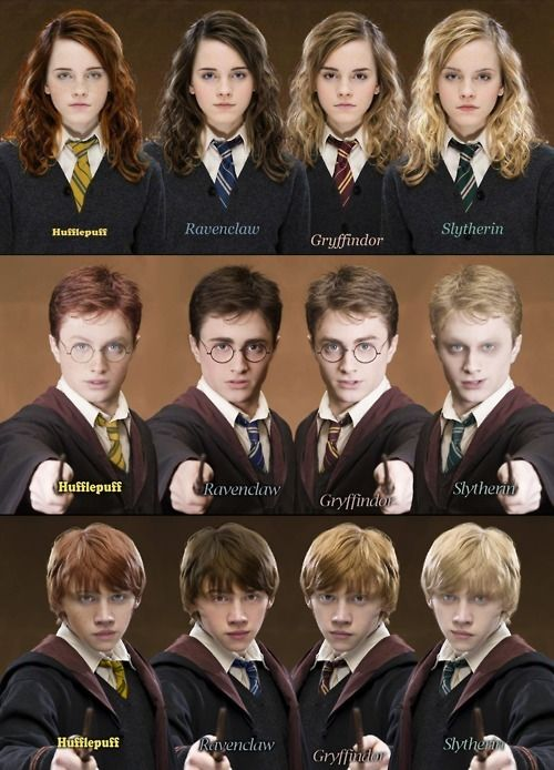 Love this! I like Hermione best as a Gryffindor or Slytherin, and Harry and Ron as Ravenclaws. Someone banish Slytherin Harry to the black lagoon.