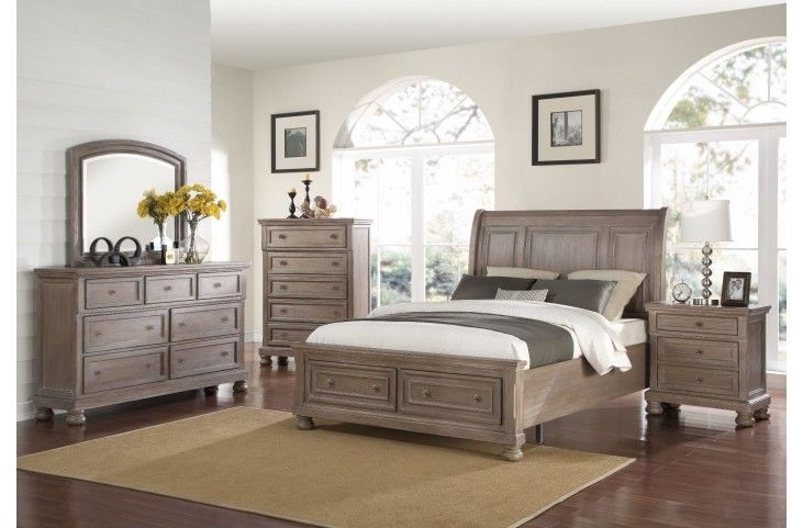 Allegra Pewter Storage Sleigh Bedroom Set from New Classics (B2159-310-328-330) | Coleman Furniture