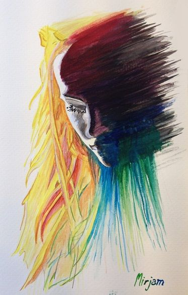 Watercolor portrait. Woman watercolor/aquarell painting. Colorful art. Autumn mood. Facebook page: https://www.facebook.com/pages/Mirjams-Art/152757271491447