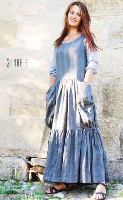 Платья ручной работы. Ярмарка Мастеров - ручная работа. Купить Льняное платье с карманами «Оттенки серого». Handmade. Серый