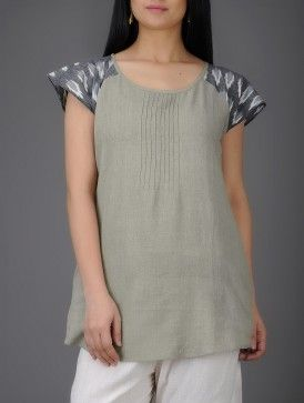 Grey-Ivory Ikat Pintuck Khadi Cotton Top