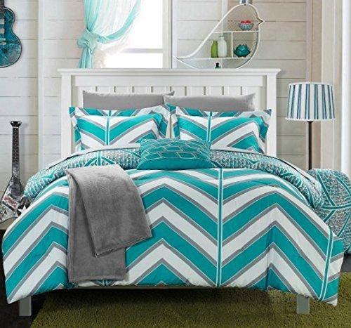 Boys Aqua Chevron Comforter Full Set Digital Contemporary Geometric Bedding Stylish Horizontal Verticle Striped Pattern Gray Pixel Pattern Teal Sky