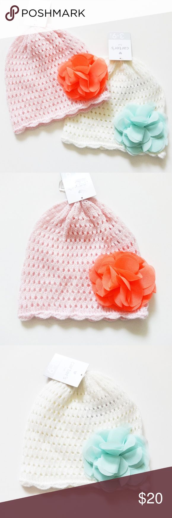 NWT Carters Baby Girl knit hats NWT Carters Baby Girl knit hats. silky flowers. Light pink with hot coral flower. White with mint green flower. Both 3-9m. Bought these when we were trying to get pregnant. Found out we cant have babies so I don't need them anymore. Carter's Accessories Hats