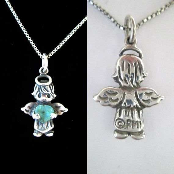 Silver March Birthstone Angel Necklace 1990s by looseendsvintage