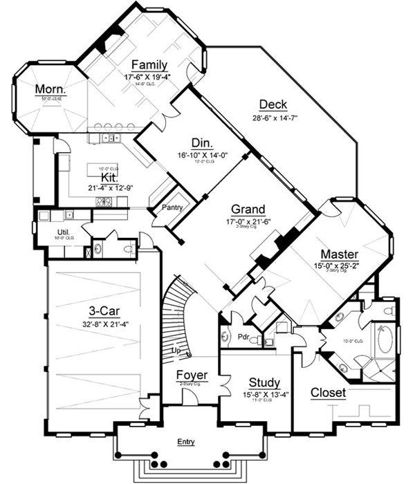 112 best dream home images on pinterest monster house, european Cape Cod Greek Revival House Plans first floor plan of greek revival house plan 72137 Traditional Cape Cod House Plans