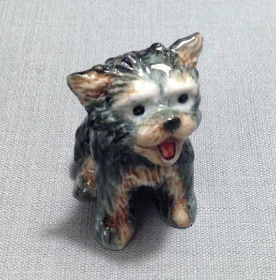 Miniature Ceramic Dog Yorkshire Puppy Pet Animal Cute Little Small