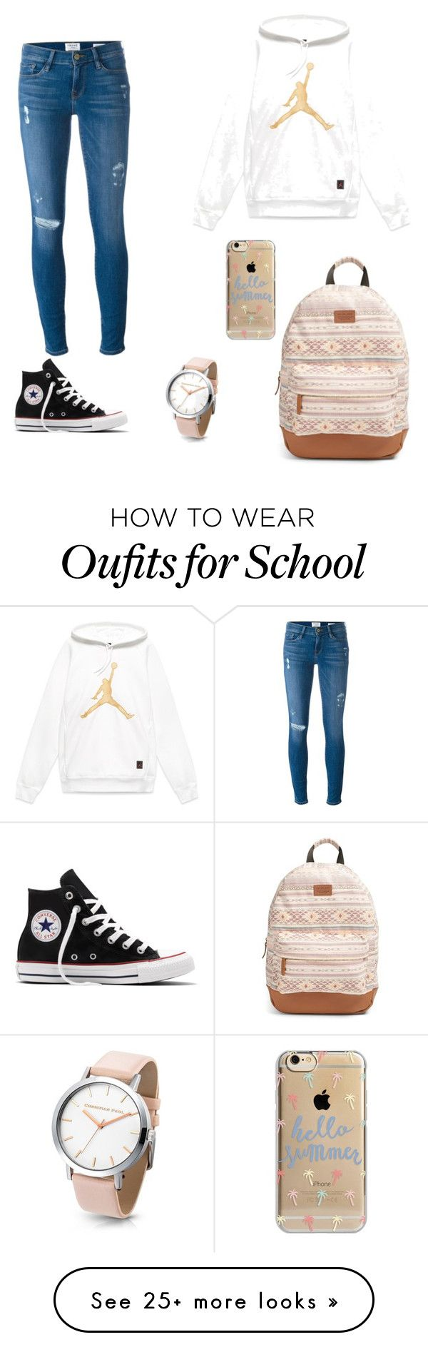 """Back to school"" by isamartens2003 on Polyvore featuring Frame Denim, Rip Curl, Agent 18 and Converse"