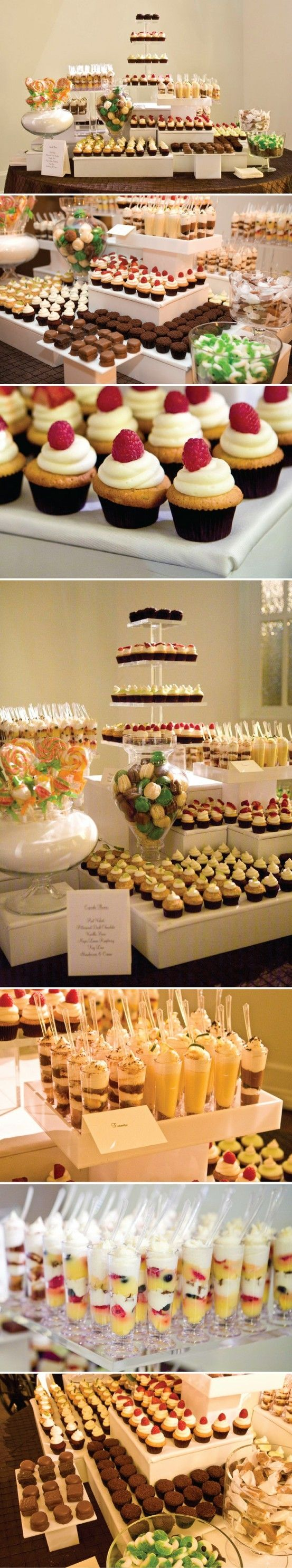 Mini dessert bar. Such a wonderful alternative to a huge expensive wedding cake and guests get what they like and want vs.cake that not everyone enjoys.