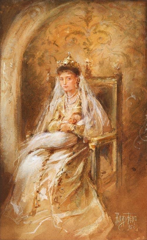 "imperial-russia:  "" Empress Alexandra Fyodorovna with her first-born, Grand Duchess Olga Nikolaevna """